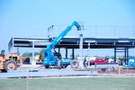Putting up steel beams for drive through on Medical Building